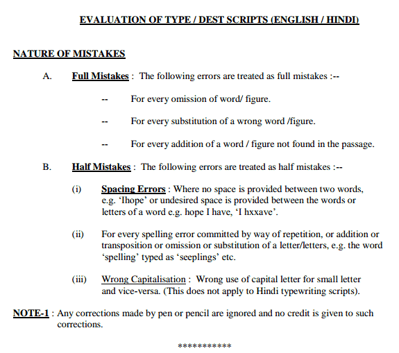 Method of Evaluting TYPING-DEST Scripts