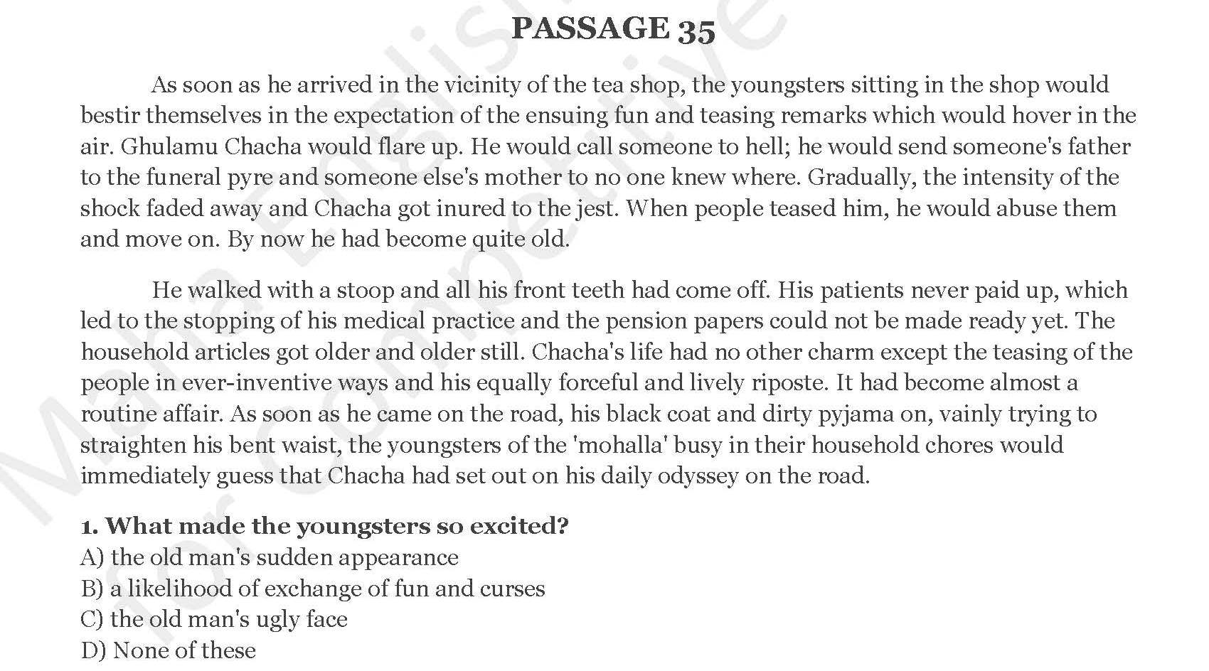 PRACTICE PREHENSION PASSAGES — SOLVED