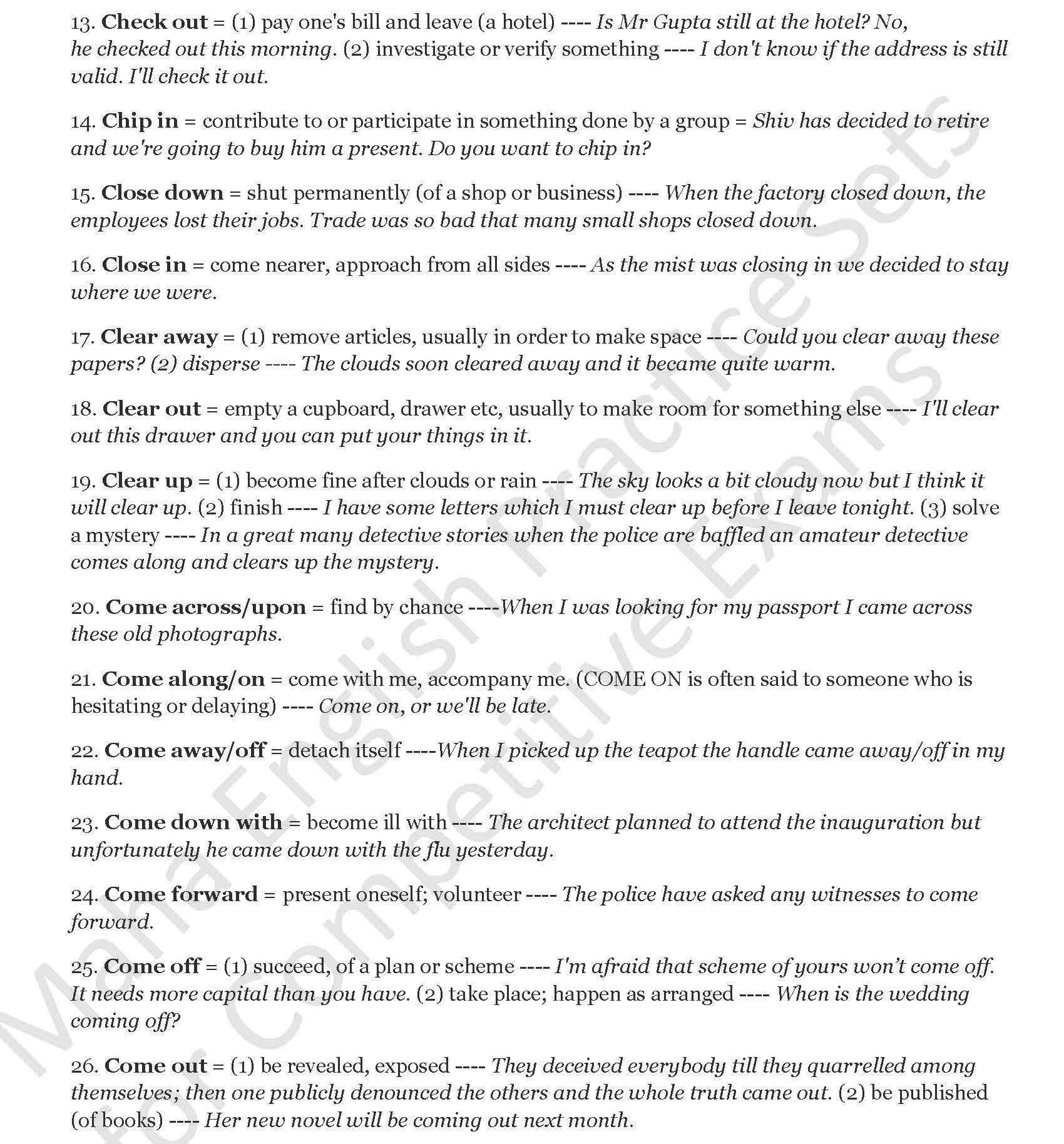 PHRASAL VERBS (LIST) | EXAMSCOMP